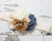 Country Girl - headband in denim blue, tan burlap, and cream with lace and pearls (RTS)