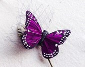 Purple butterfly hair pin bobby pin hair clip grey veiling green velvet leaf boho bridal wedding