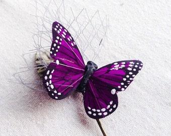 Purple butterfly hair pin bobby pin hair clip grey veiling green velvet leaf boho bridal wedding
