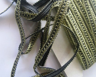 "Antique Victorian Braid Trim, Gold / Black, 3/8"" inch, 1 Yard, For Jewerly, Accesories, Home Decor, Romantic Crafts"
