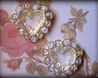 Lace D'oro Golden Heart Applique, White / Gold, x 2, For Bridal, Romantic, Victorian Projects