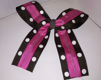 Grey with White Polka Dots and Pink Big Tail Bow