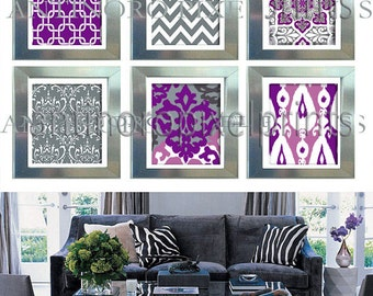 Purple Grey Wall Art Prints Modern Inspired  - Set of 6 - 5x7 Prints - Your Custom Colors Sizes Available (UNFRAMED)
