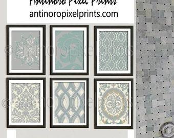 Creme Green Grey Tan Vintage / Modern inspired Art Prints, Set of (6) Wall Art Prints - Custom Colors Available (UNFRAMED) #224926535