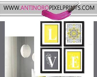 Home Decor Digital Love Lemon Yellow Greys White Wall Art Vintage / Modern Inspired -Set of 4 - 4x6 Prints -  (UNFRAMED)