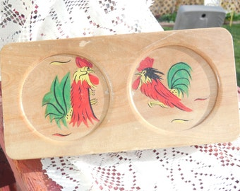 Hamburger Press, Double Hamburger Press with Roosters on it,Vintage Kitchen Tools,Vintage Kitchen,Country Kitchen/Great for Family parties:)