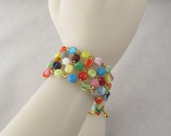 Rainbow Glass Bead Bracelet with Toggle Clasp