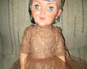 Vintage Royal and Jolly Grannykin Doll mauve lace dress