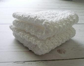 Two White Crochet Dishcloths / Washcloths