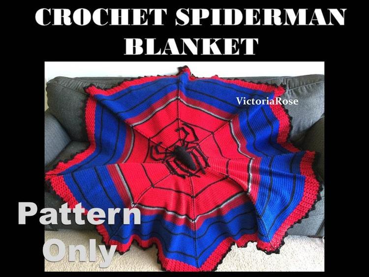 Crochet Pattern For Spiderman Blanket : Crochet Spiderman Blanket Pattern Only by VictoriaRoseShop ...