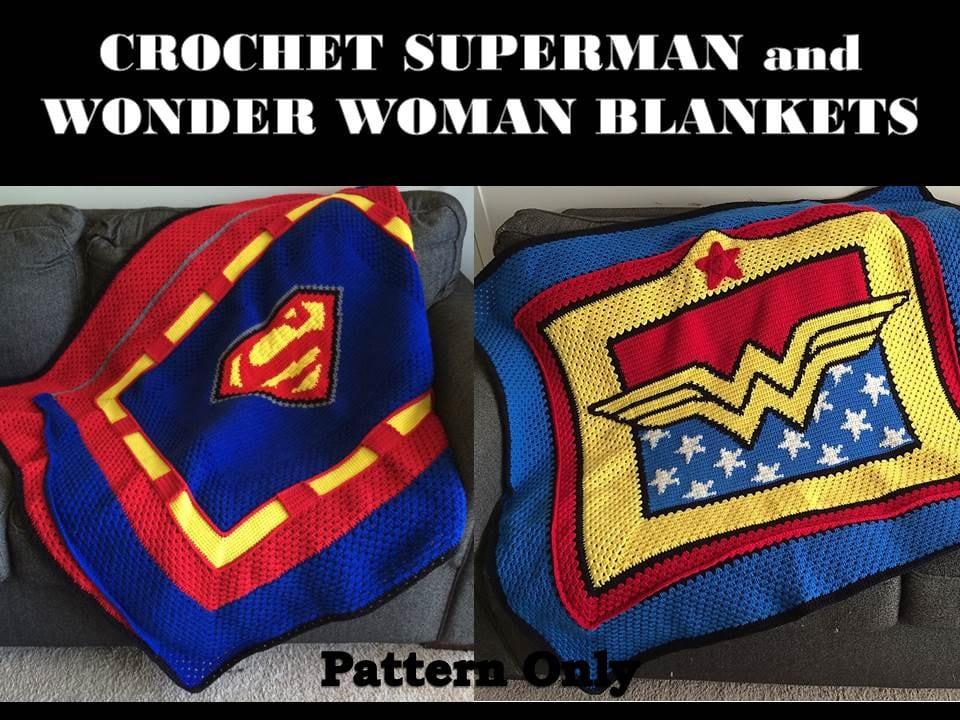 Crochet Superman & Wonder Woman Blanket Patterns