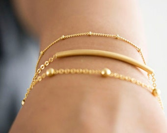 Satellite Dew Drop Dotted Bracelet, Gold / Silver, Layering Jewelry, LJ