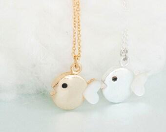 Fish Charm Necklace, Gold / Silver, Marine Animal Jewelry, AJ ej