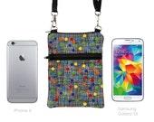 iPhone 6 Plus Travel Bag, Samsung Galaxy S6 Purse, Small Cell Phone Case Crossbody, Mini Zip Shoulder Bag  - colorful dots black crosshatch
