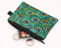 Fabric Coin purse, green mini change bag, small padded zippered phone pouch, floral women's zip wallet - green, gold, blue peacock feathers