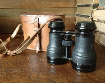 Leather Binoculars and Case, Made in France, Brown Leather Bag