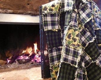 Quilt John Deere Tractors Rag Quilt Twin 3 layers flannel prewashed handmade in Texas
