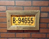 Barn wood frame license plate display -includes plate -Father's Day -license plate art-  license plate decor- barn wood decor