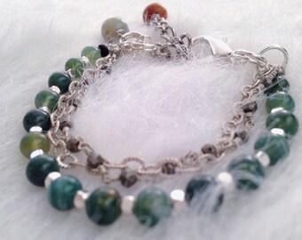 Moss Agate, Kadam Wood, Silver and Pyrite Bracelet