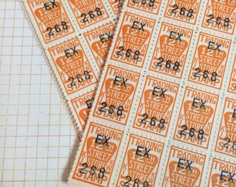 300 Trading Stamps / Vintage Orange Trading Stamps Ephemera for Mixed Media, Collage, Altered Art