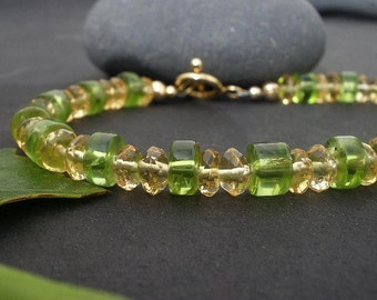 Faceted Citrine Rondelles, Peridot Tire Shape 14kt Yellow Gold Filled Bracelet