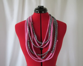 Pink and Grey T-Shirt Necklace