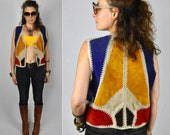 Vintage Leather Vest Patchwork Knit Cotton Crochet Colorful Navajo Boho Hippie Gypsy Pixie Festival size S - M