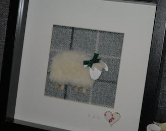Woolly Sheep on Tweed, Framed Gift