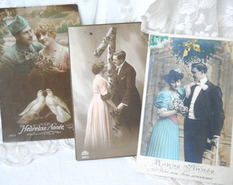 set of 3 antique Happy New Year postcards French postcards, vintage postcards, photograph postcards, handtinted, bonne annee, love couple