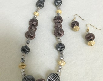 Brown and grey necklace and earring set.