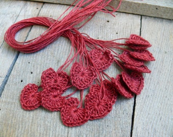 Small wedding favors, crochet tiny burgundy red hearts, 15 mini hearts, wedding decorations, embellishment, applique, Birthday, scrapbooking