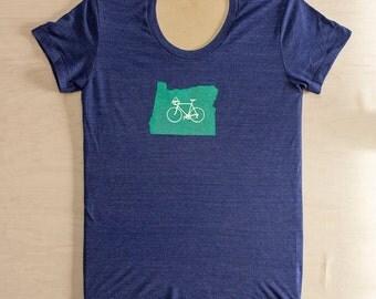 Women's Bike Oregon T-Shirt, Navy, Bike Shirt, Screen-Printed Shirt, Bicycle Shirt