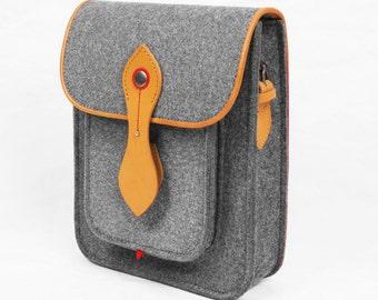 Felt Backpack Messenger Bag Wool Felt iPad Bag iPad Air Bag with Genuine Leather iPad Bag Small Shoulder Bag Grey Color
