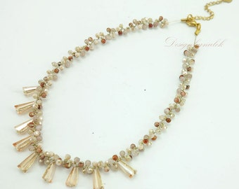 Topaz,jasper,rose quartz on silk thread necklace.
