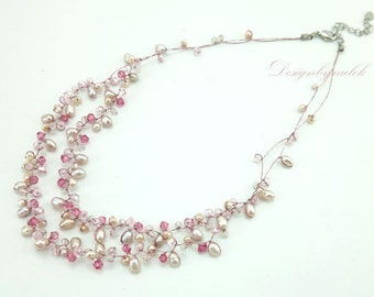 Rose crystal,pink freshwater pearl on silk necklace.
