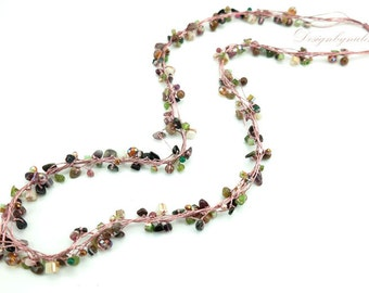Tumarine,jasper,peridot,crystal long necklace.