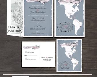 The Americas Destination bilingual wedding invitation South America North America Two Countries Wedding Stationary - Design fee