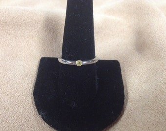 Vintage Stainless Steel Band with Yellow Gemstone, Size 8.75