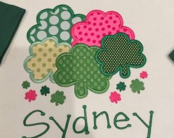 St. Patricks Day Two Tone Green Interlock Long Sleeve Shamrock Shirt