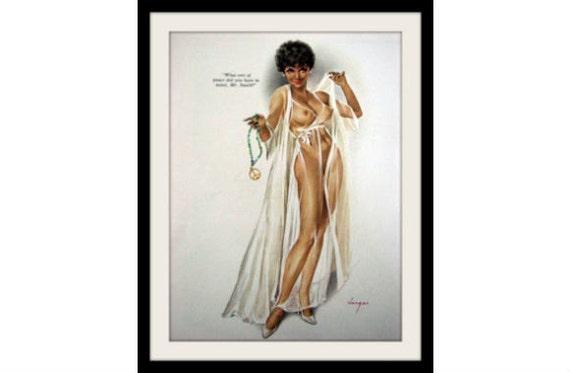 VARGAS African Girl & Peace Pinup Art, Vintage Mature Nude Decor