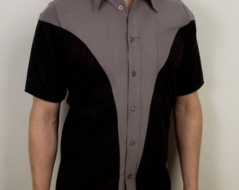 Modern curved mens button down shirt