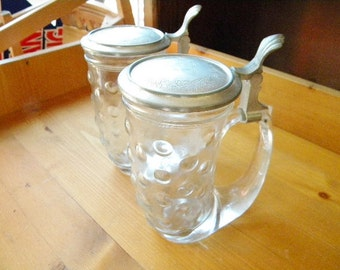 2 Bubble Glass Beer Steins with Etched Pewter Lid