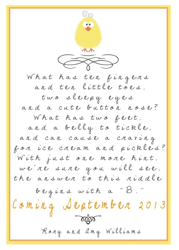 Pregnancy Announcements Yellow Baby Riddle Poem Pregnancy – Baby Announcement Poem