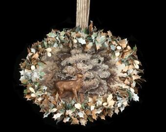 Diorama of vintage elk in 3-dimensional woodland setting