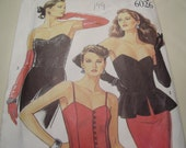 Vintage 1990's New Look 6026 Bustier with Peplum Sewing Pattern, Six Sizes in One