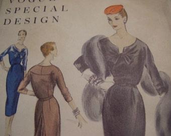Vintage 1950's Vogue 4526 Special Design Dress Sewing Pattern, Size 16, Bust 34