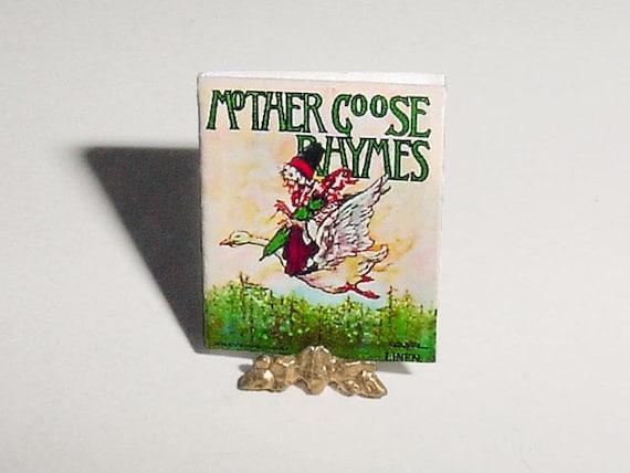 Dollhouse Miniature Book MOTHER GOOSE RHYMES - Clara Burd - One Inch 1/12th Scale Dollhouse Nursery Rhymes Childrens Book Accessory