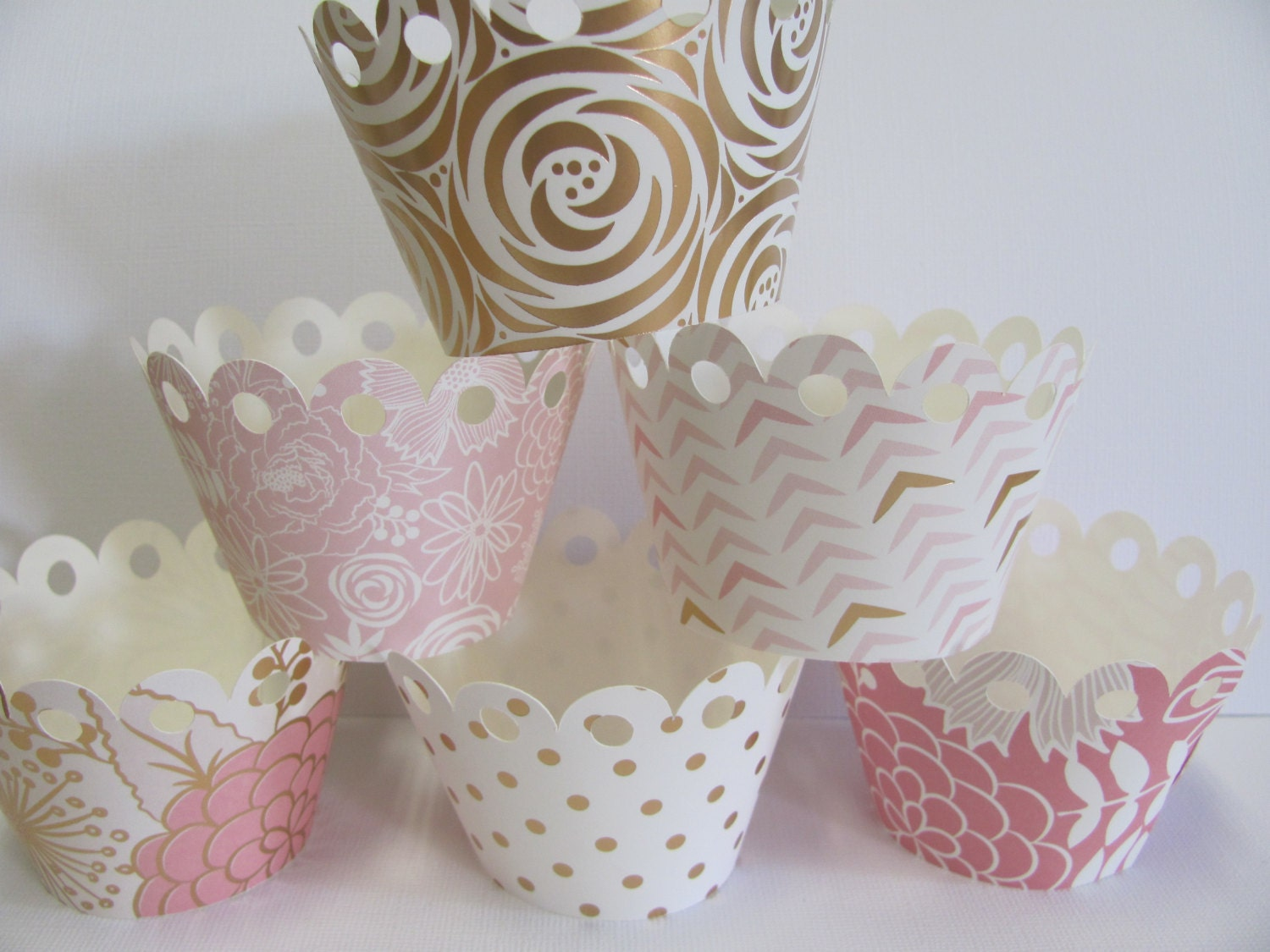 Gold Birthday Decorations Cupcake Wrappers Blush Gold Pink Cupcake Wrappers Set Of