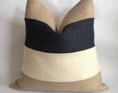 Black, Cream And Natural Multi Stripe Burlap Pillow Cover