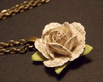 Miniature Sheet Music Rose Necklace